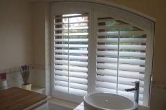 Custom Shaped Shutters Fitted to Kitchen Window