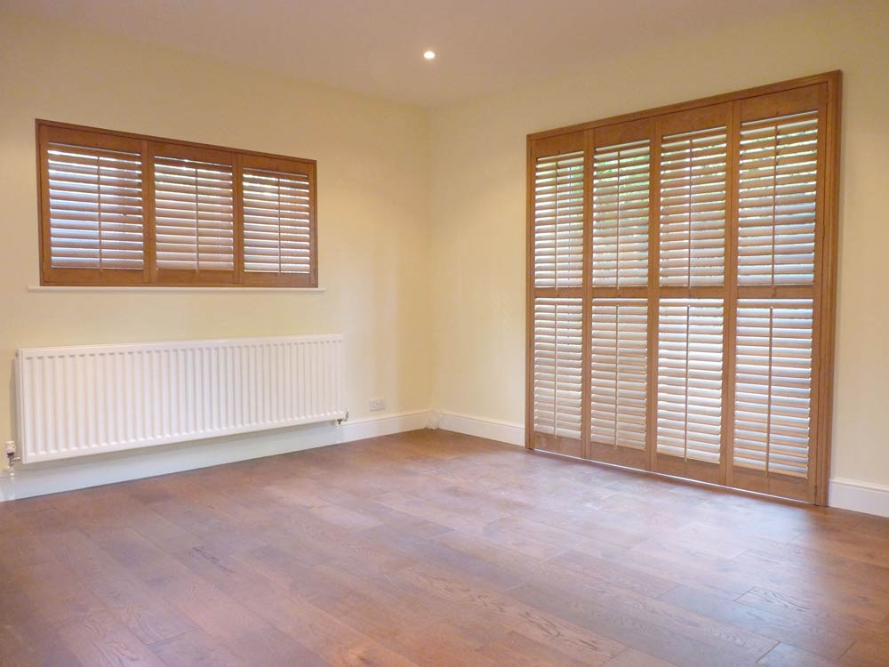 Stained shutters on doors