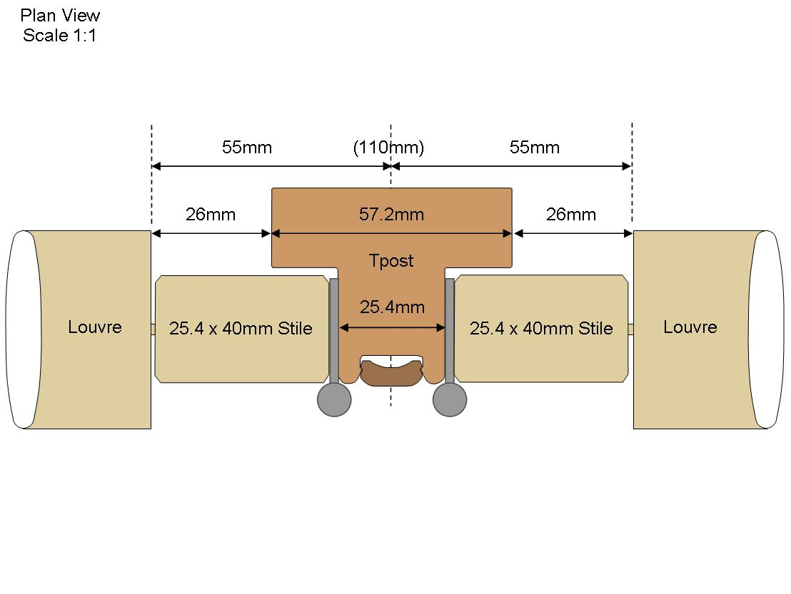 Technical Tpost Drawing with 40mm stiles
