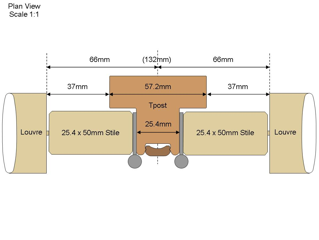 Technical Tpost Drawing with 50mm stiles