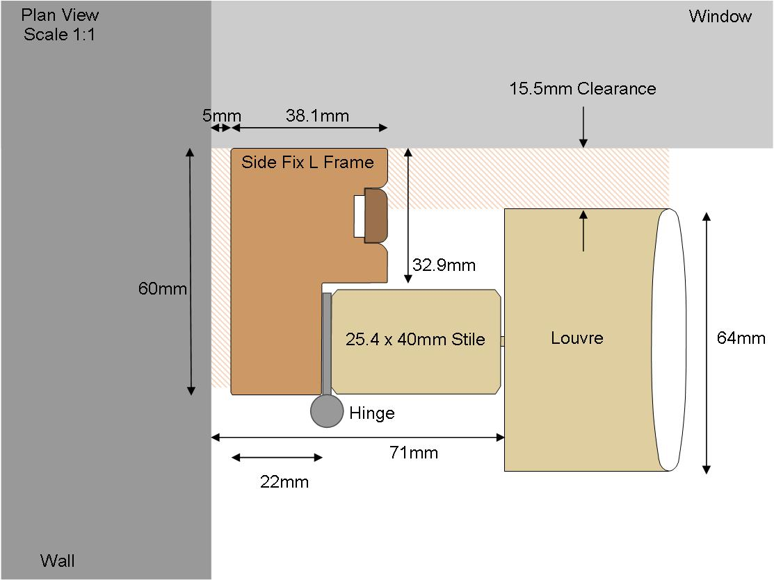 Technical drawing 60 Side Fix 64 Louvre