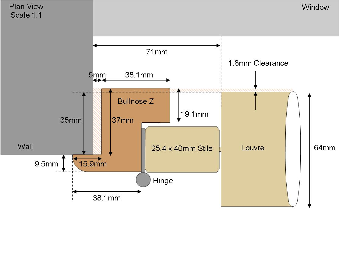 Technical drawing Bullnose 64 Louvre