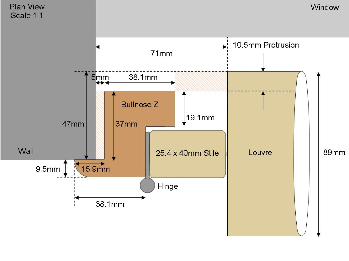 Technical drawing Bullnose 89 Louvre
