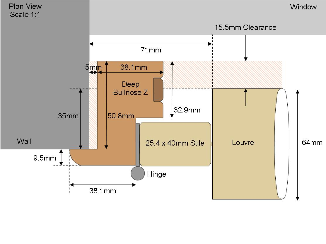 Technical drawing Deep Bullnose 64 Louvre