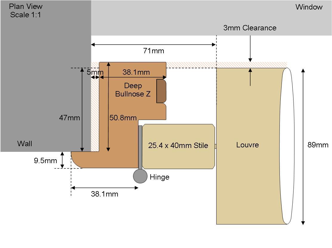 Technical drawing Deep Bullnose 89 Louvre