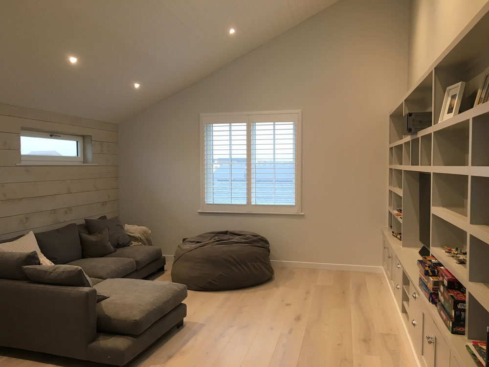 Full Height White Shutters Fitted in Lounge