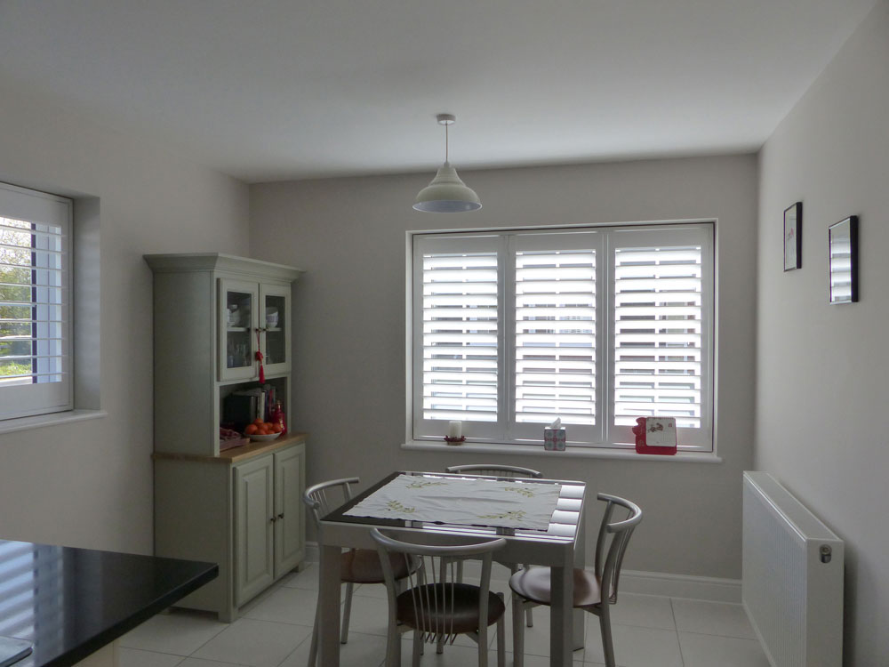 Kitchen Dining Room with Full Height Plantation Shutters