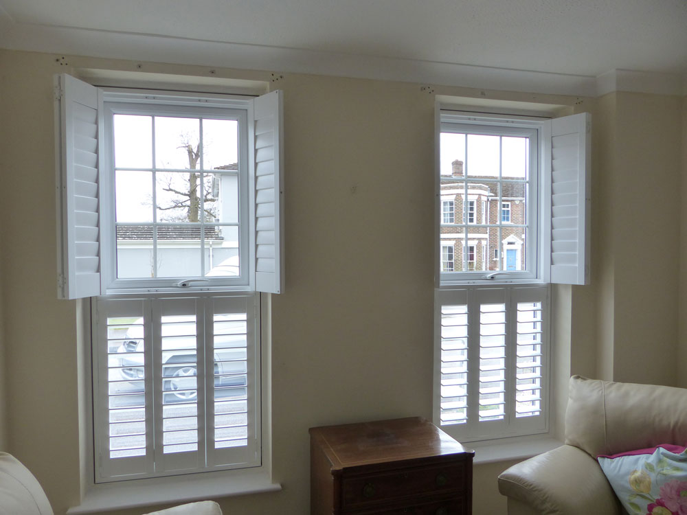 Top Opening Shutters In Living Room with Top Shutters Open