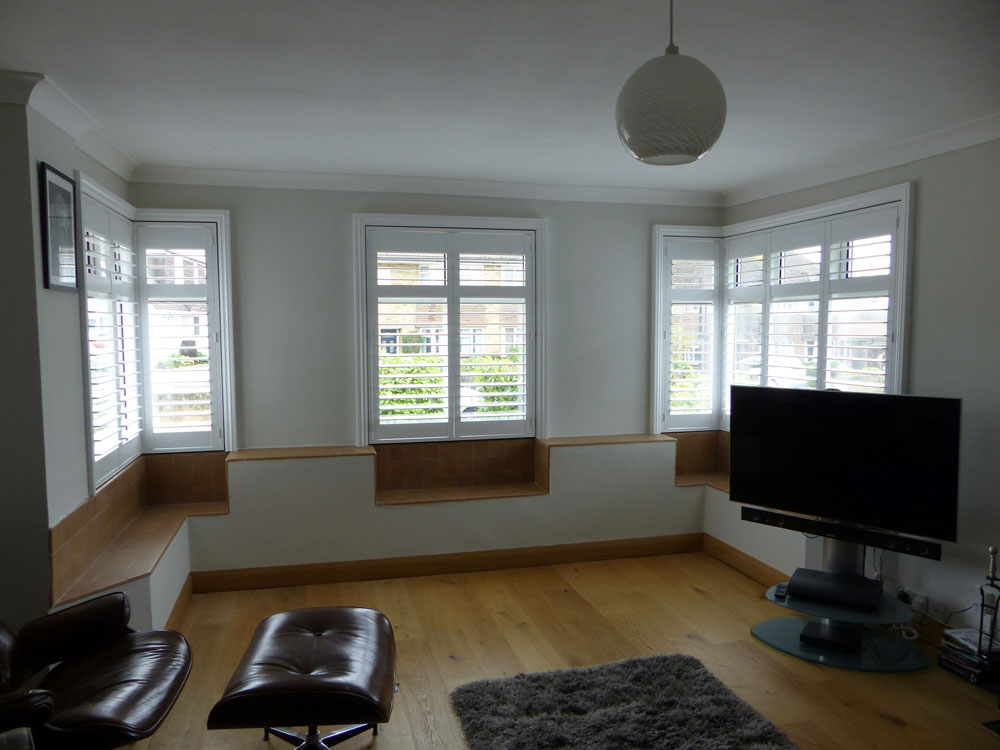 Shutters Fitted to Square Bay Window with Three Separate Sections