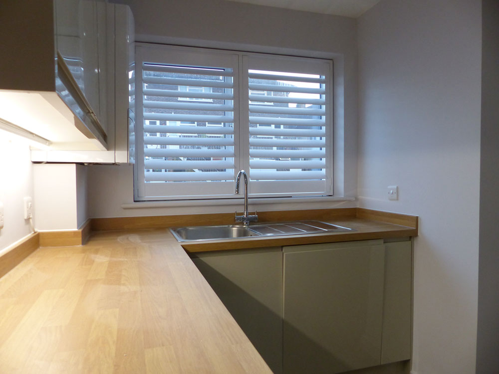 Window Shutters Fitted Over Kitchen Sink