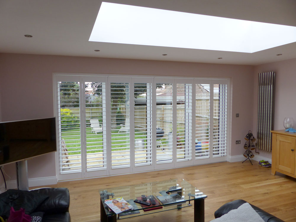 Patio Doors with White Shutters on a Track