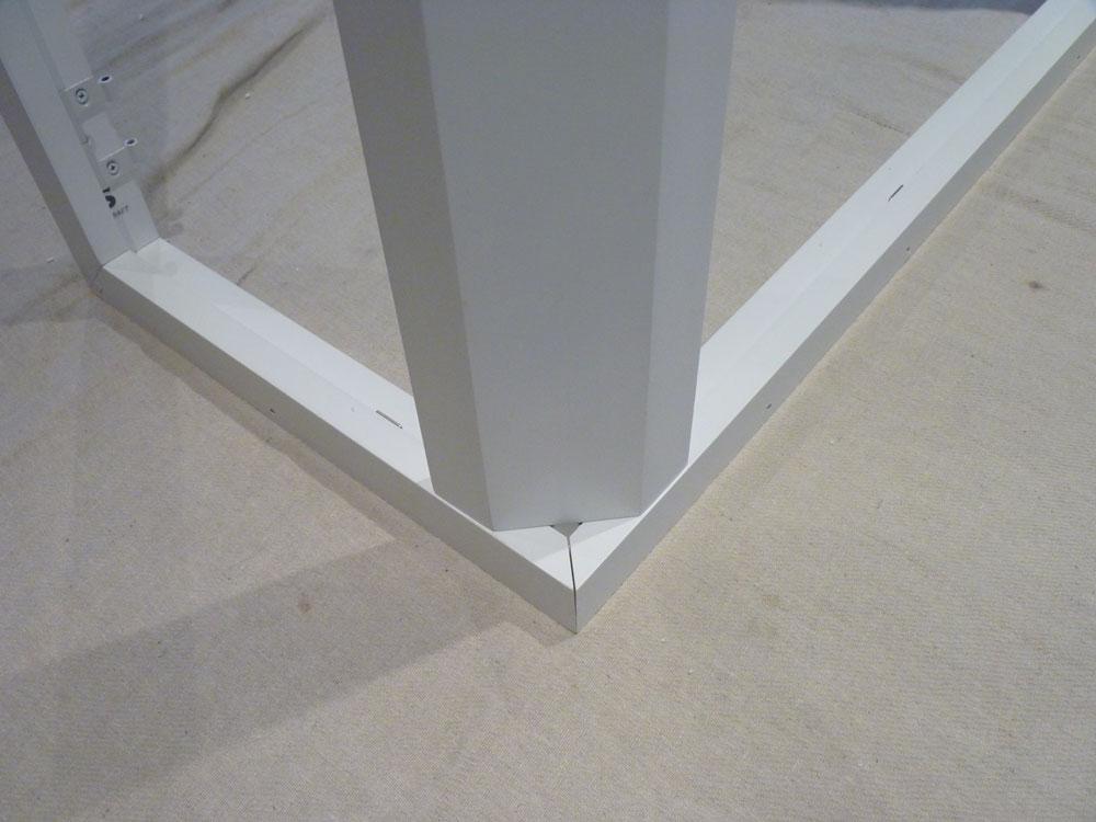 Corner post being assembled